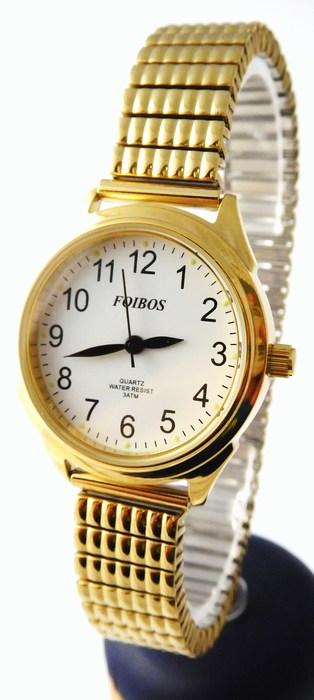 Dámské zlacené čitelné hodinky Foibos 37002 s pérovacím páskem (natahovací pásek - libovolná velikost)