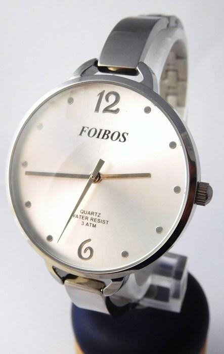 Dámské čitelné velké stříbrné hodinky Foibos 2699 s velkým číselníkem