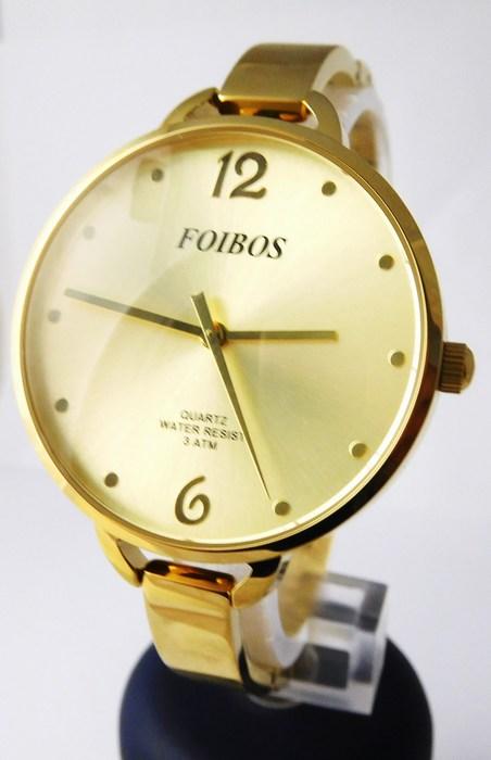 Dámské čitelné velké zlacené hodinky Foibos 26892 s velkým číselníkem