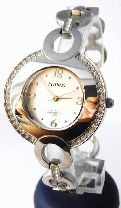 Šperkové dámské stříbrné hodinky s kamínky po obvodu Foibos 2472
