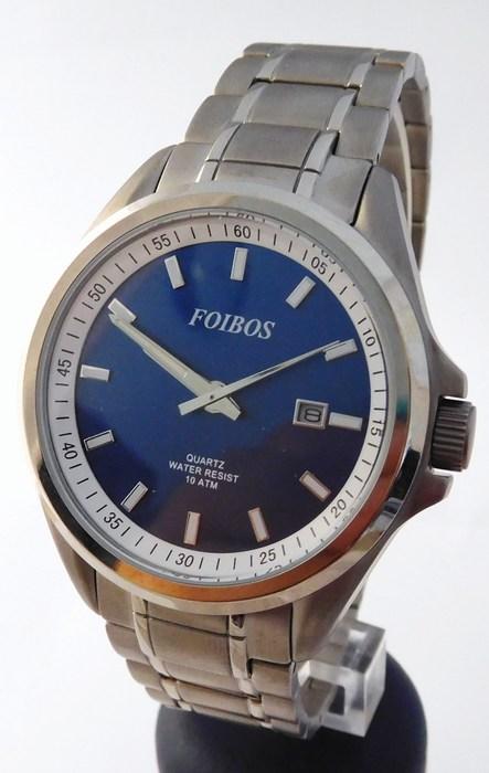 Pánské celotitanové antialergické vodotěsné hodinky Foibos 25503 (odlehčené hodinky, modrý číselník)