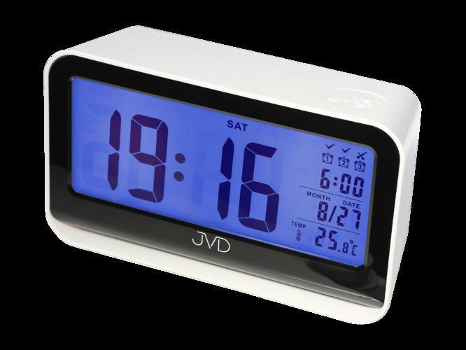 Digitální budík JVD SB130.3 (se senzorem podsvícení - bílý)