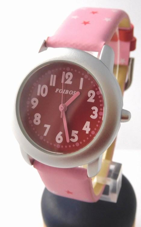 Růžové větší dívčí hodinky Foibos 1619.3 s barevným číselníkem
