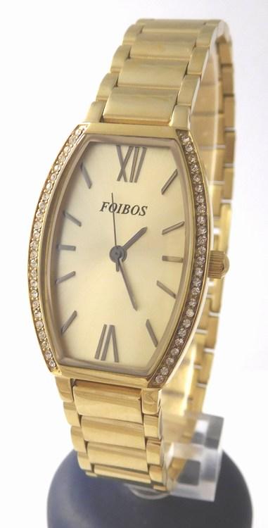Dámské zlacené přehledné ocelové hodinky Foibos 1x13 se zirkony 3ATM (POŠTOVNÉ ZDARMA!!!!)