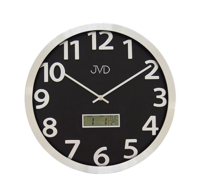 Kovové nástěnné hodiny JVD HO047.1 s digitálním teploměrem a ukazatelem data (POŠTOVNÉ ZDARMA!!)