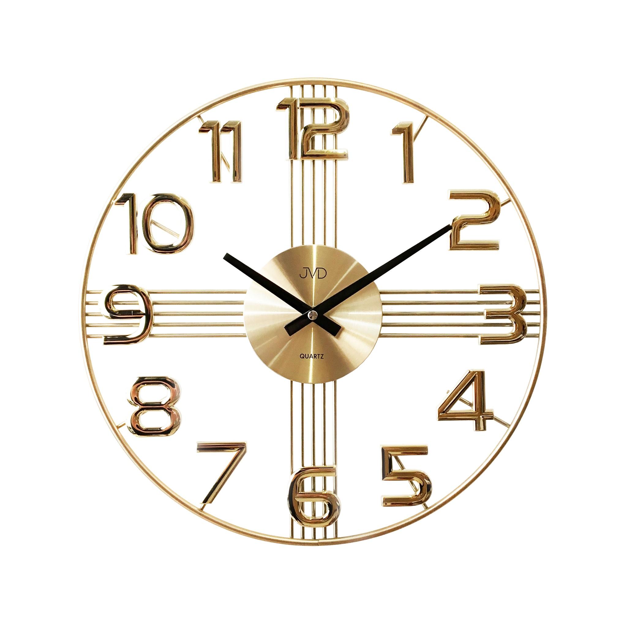 Designové kovové luxusní nástěnné hodiny JVD HT051.2 do moderního bytu (POŠTOVNÉ ZDARMA!!)
