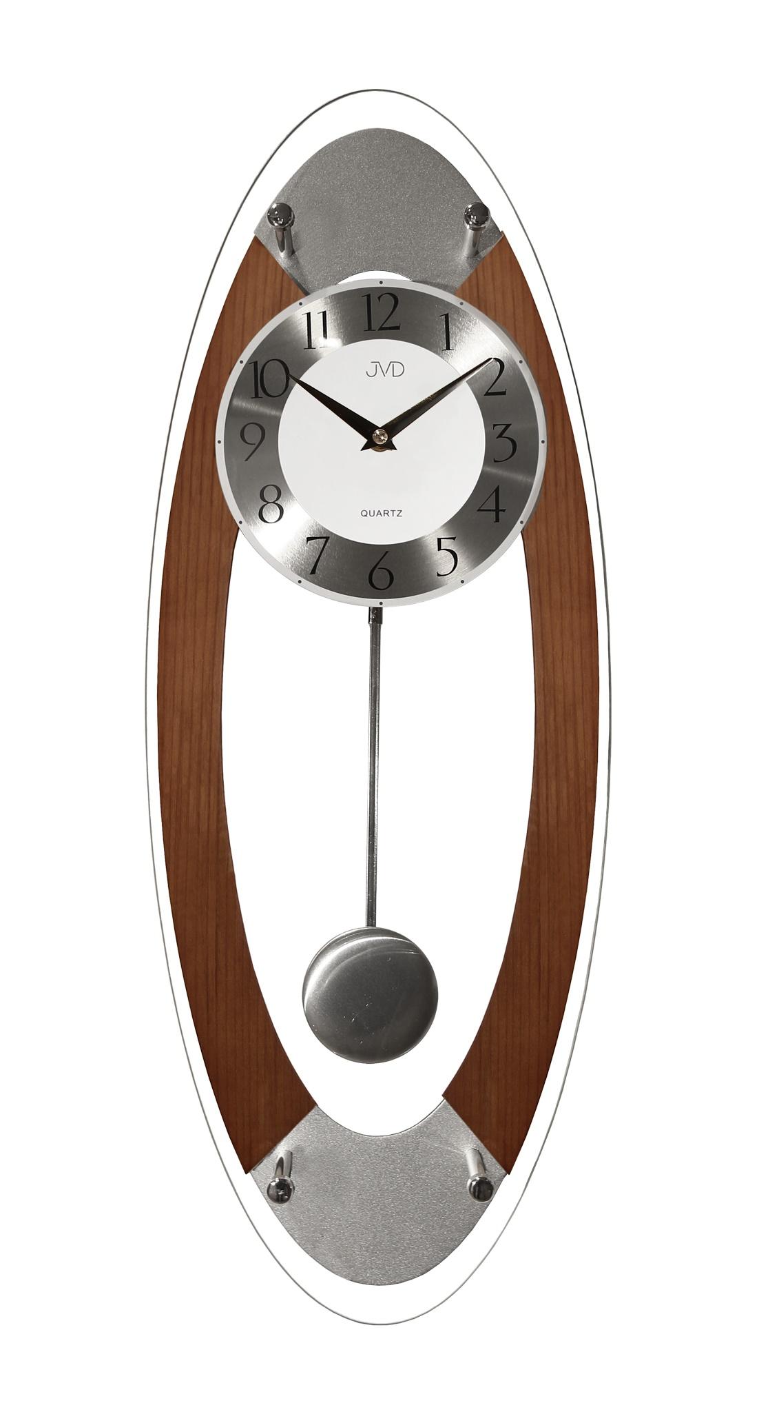 Kyvadlové dřevěné skleněné nástěnné hodiny JVD N16024/11 (POŠTOVNÉ ZDARMA!!)