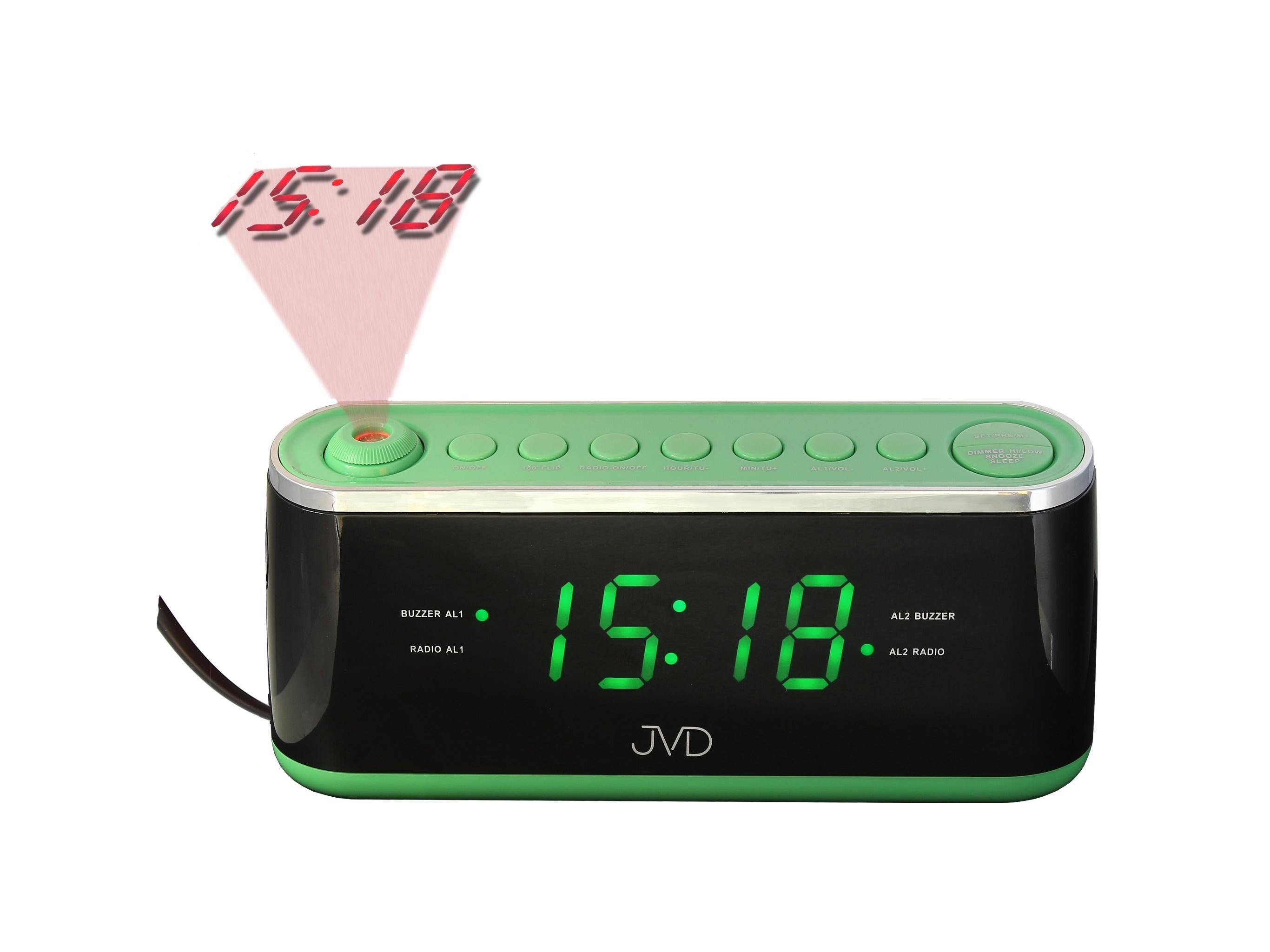 Zelený digitální budík do sítě JVD SB97.2 s projektorem času a teploty (POŠTOVNÉ ZDARMA!! - Zelený )