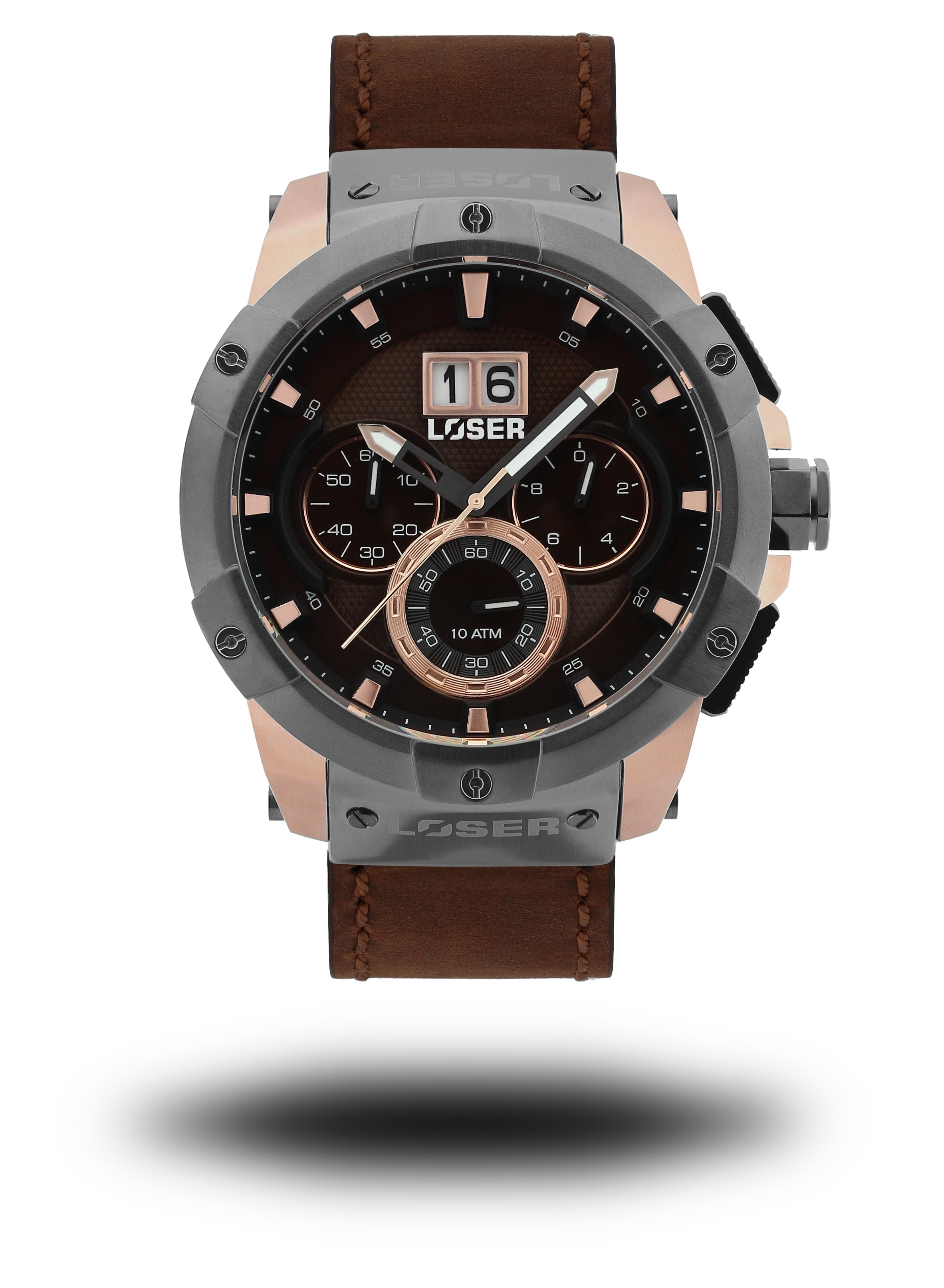 Luxusní nadčasové sportovní vodotěsné mohutné hodinky LOSER Vision NOBLE BROWN (POŠTOVNÉ ZDARMA!! - hnědé)