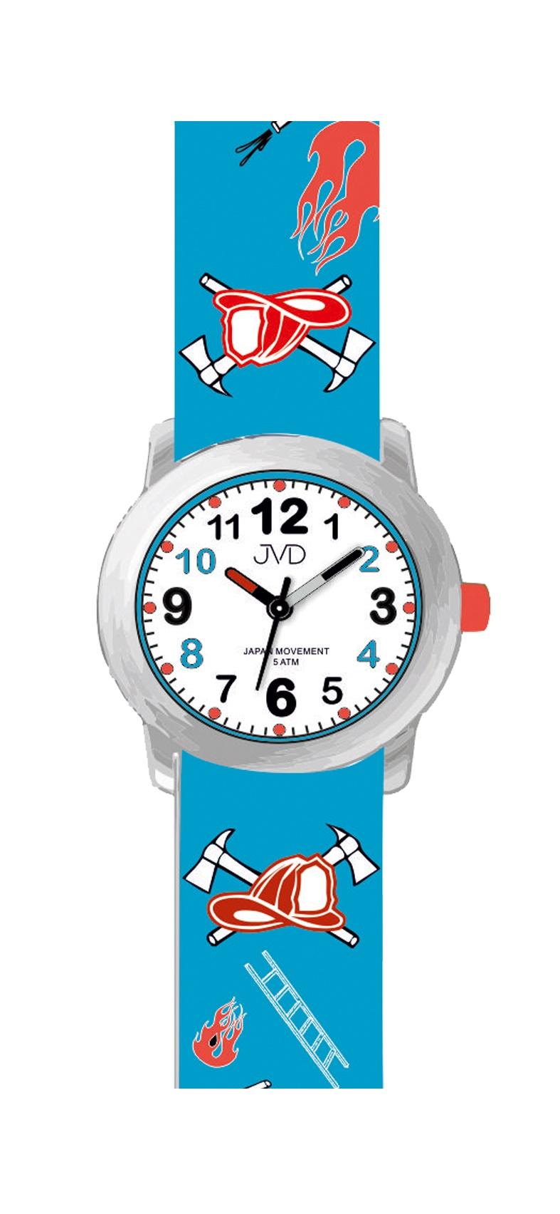 Dětské chlapecké náramkové hodinky JVD J7172.1 pro malé hasiče (hasičské motivy - modré)