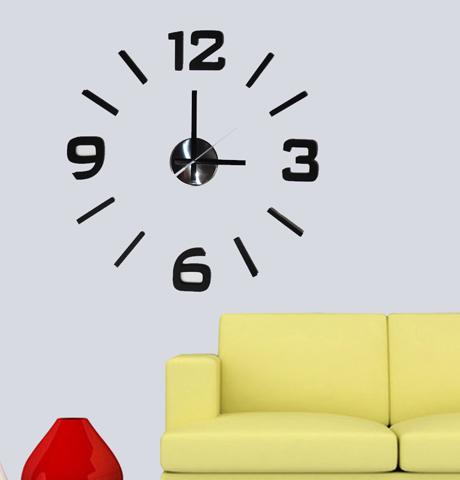 Černé levné samolepicí lesklé nalepovací hodiny Stardeco HM-10ME101B průměr 60cm (Černé nalepovací 3D hodiny)