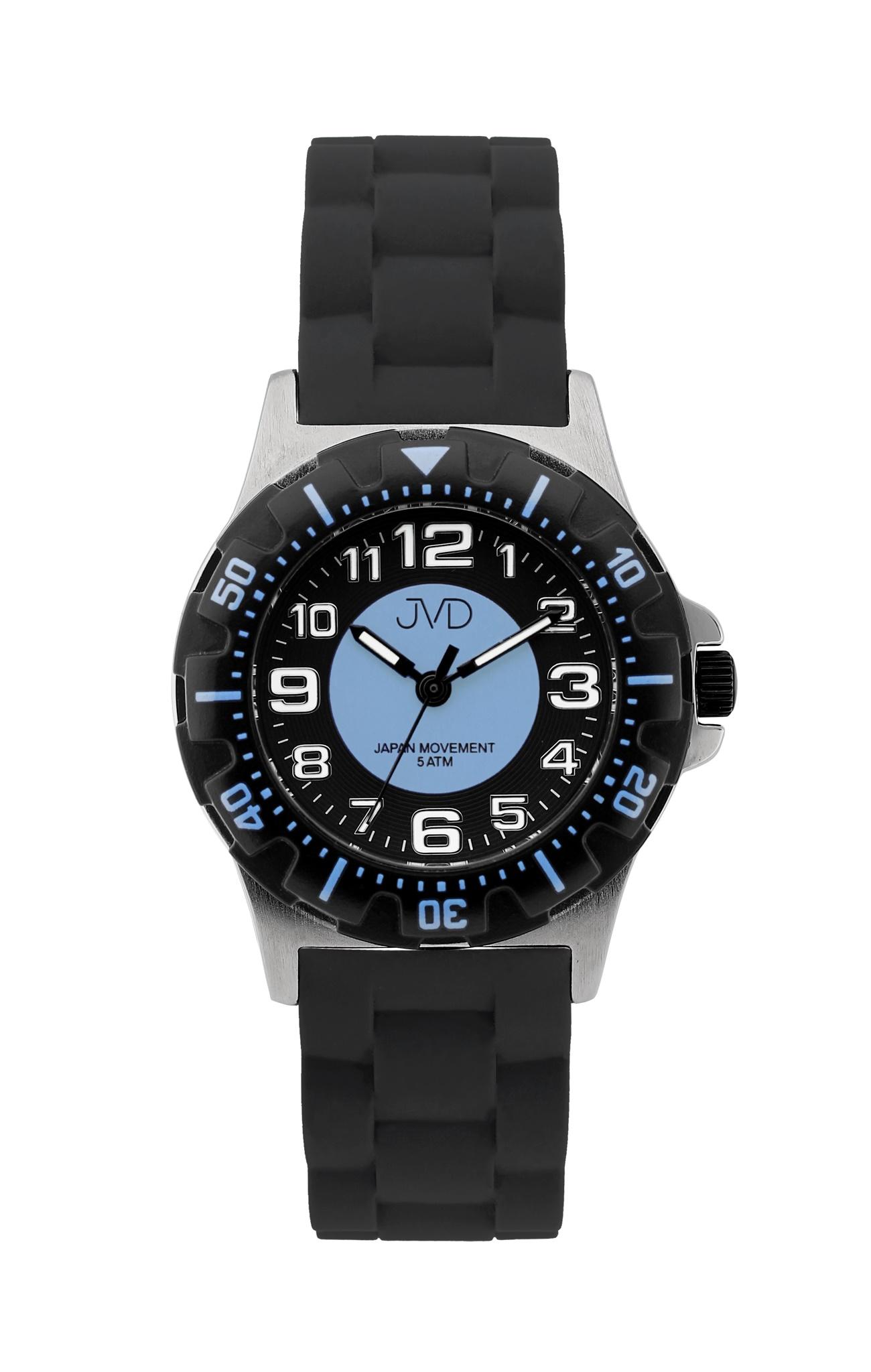 Chlapecké dětské vodotěsné sportovní hodinky JVD J7168.4 - 5ATM (modré chlapecké voděodolné hodinky)