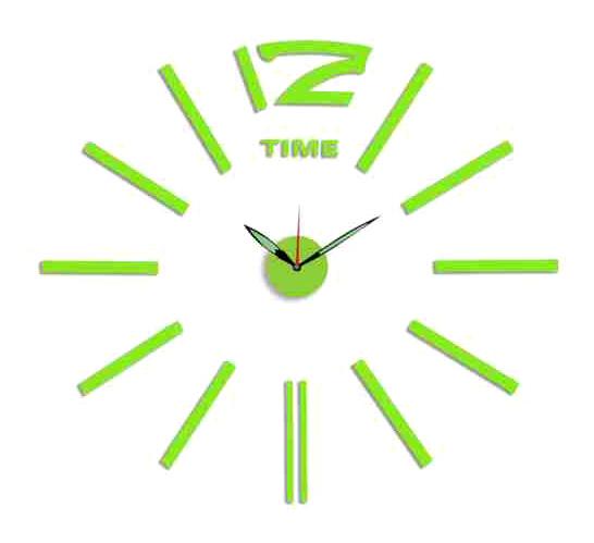 Zelené nalepovací hodiny na zeď MPM E01.3515 (průměr 60cm) (zelenkavé levné nalepovací hodiny )