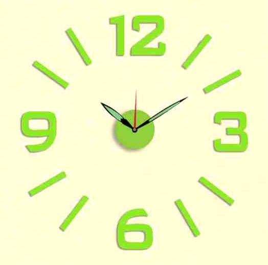 Zelené nalepovací hodiny na zeď MPM E01.3514 (průměr 60cm) (zelenkavé levné nalepovací hodiny s luminiscenční úpravou)