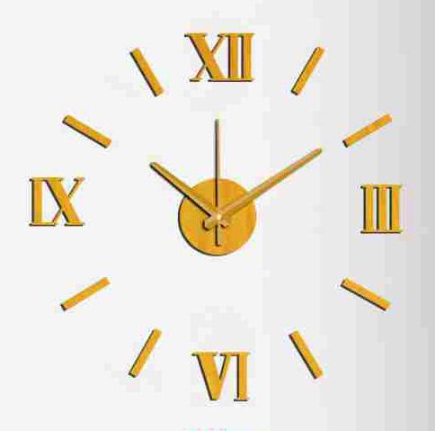 Zlaté nalepovací hodiny na zeď MPM E01.3513 s římskými číslicemi (Zlaté levné nalepovací hodiny s římskými číslicemi )