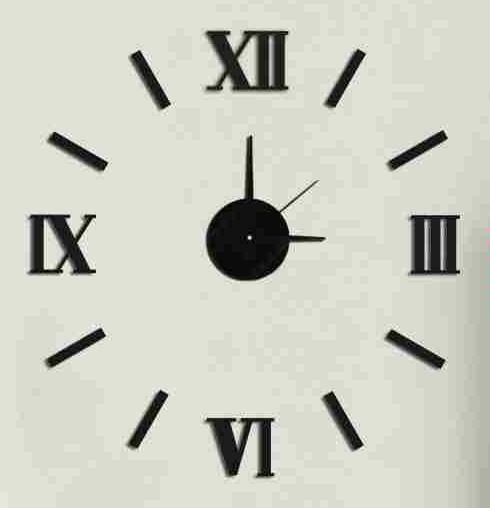 Černé nalepovací hodiny na zeď MPM E01.3511 s římskými číslicemi (Černé levné nalepovací hodiny s římskými číslicemi )