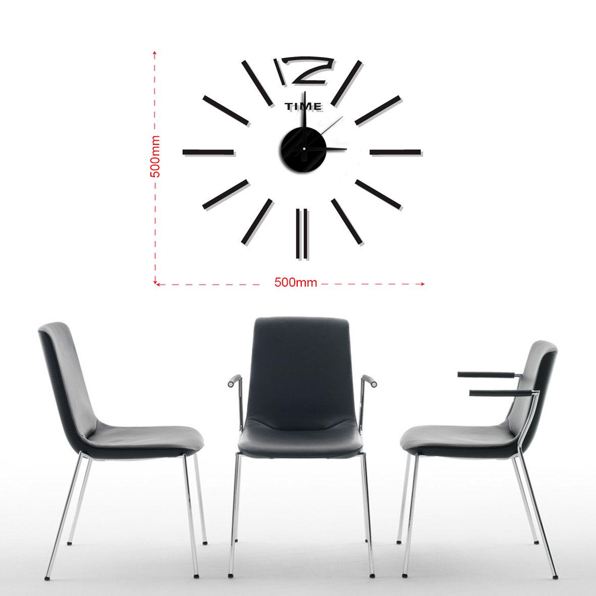 Černé nalepovací hodiny na zeď MPM E01.3510 TIME - průměr 50cm (Černé levné nalepovací hodiny)