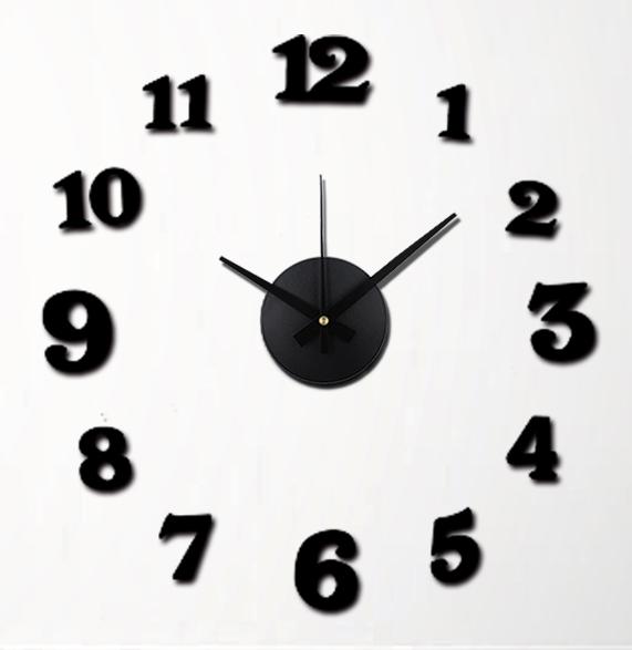 Černé nalepovací hodiny na zeď MPM E01.3509 s arabskými číslicemi (Černé levné nalepovací hodiny s arabskými číslicemi - průměr 50cm)