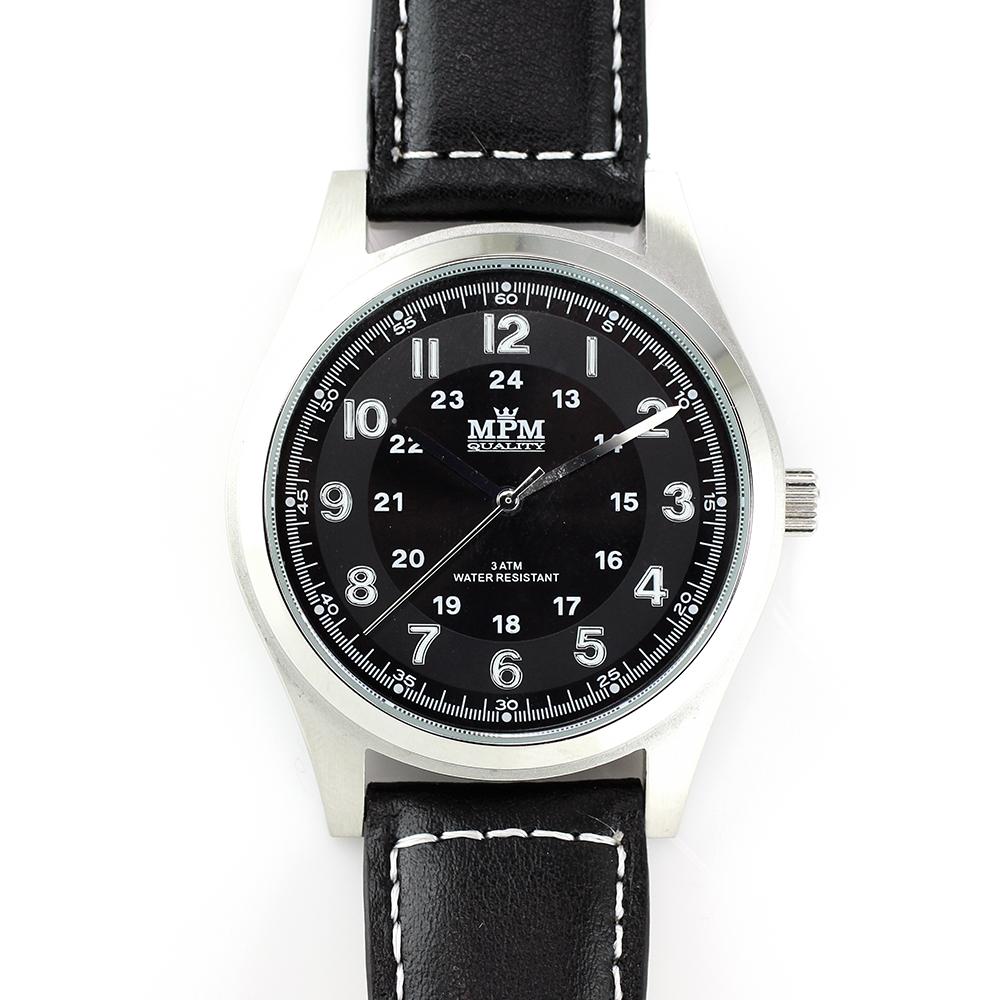 Pánské hodinky s ocelovým pouzdrem a koženým řemínkem MPM W01M.10013.A (W01M.10013.A )