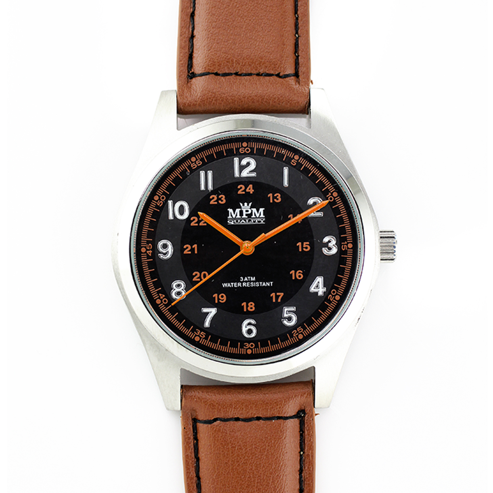 Pánské hodinky s ocelovým pouzdrem a koženým řemínkem MPM W01M.10013.B (W01M.10013.B)