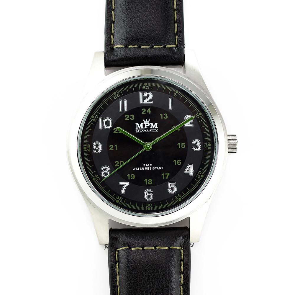 Pánské hodinky s ocelovým pouzdrem a koženým řemínkem MPM W01M.10013.C ( W01M.10013.C)