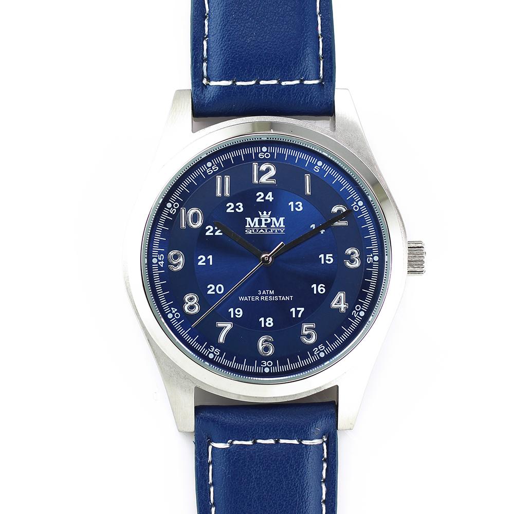 Pánské hodinky s ocelovým pouzdrem a koženým řemínkem MPM W01M.10013.D ( W01M.10013.D)