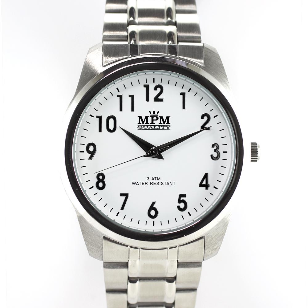 Pánské hodinky s ocelovým pouzdrem a bílým řemínkem MPM W01M.10017.A (W01M.10017.A)