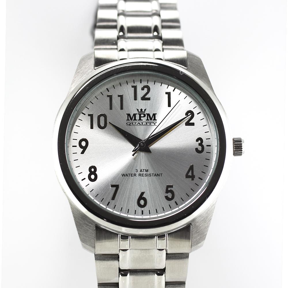 Pánské hodinky s ocelovým pouzdrem a stříbrným číselníkem MPM W01M.10017.B ( W01M.10017.B)