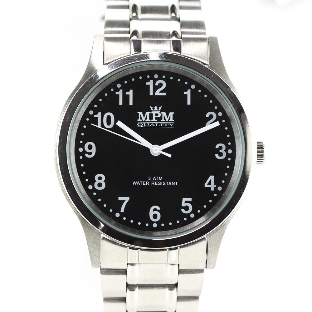 Pánské hodinky s ocelovým pouzdrem a černým číselníkem MPM W01M.10019.B ( W01M.10019.B)