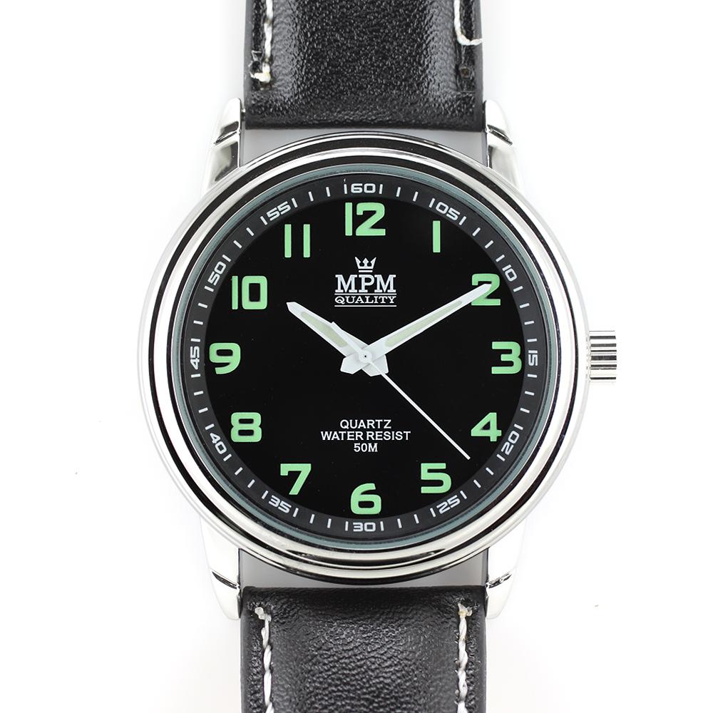Atraktivní pánské hodinky na černém řemínku MPM W01M.10584.E ( W01M.10584.E - Hodinky mají luminiscenční indexy a ručky. )
