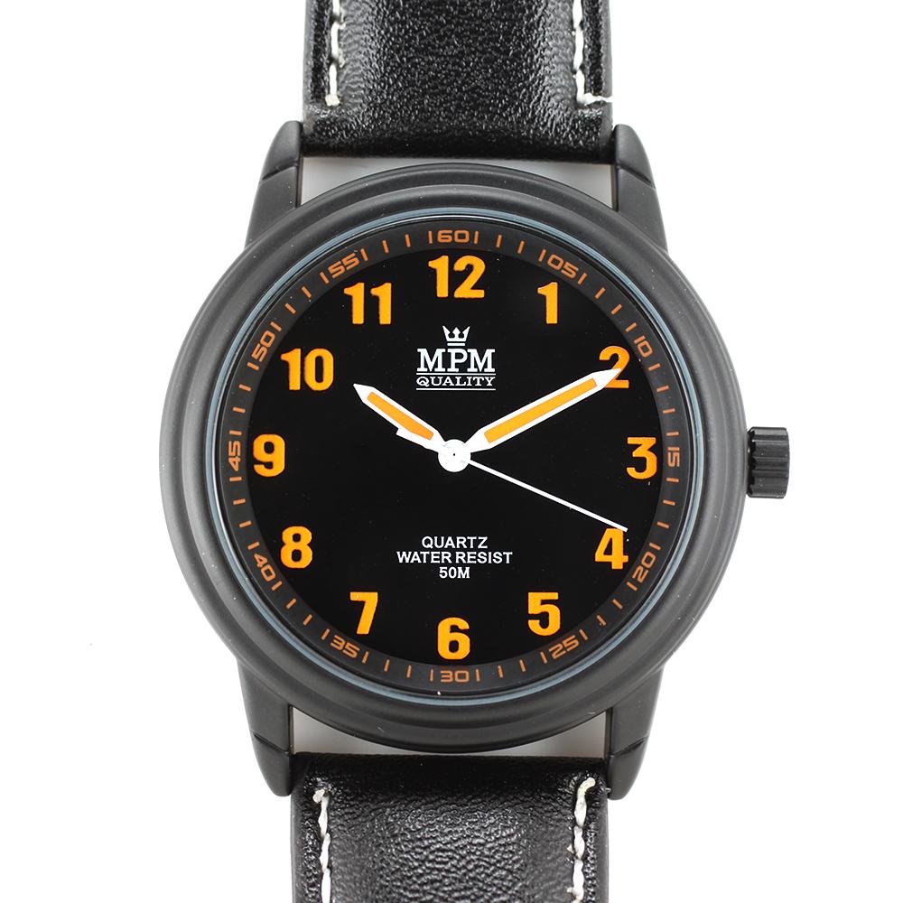 Atraktivní pánské hodinky na černém řemínku MPM W01M.10584.G ( W01M.10584.G - Hodinky mají luminiscenční indexy a ručky. )