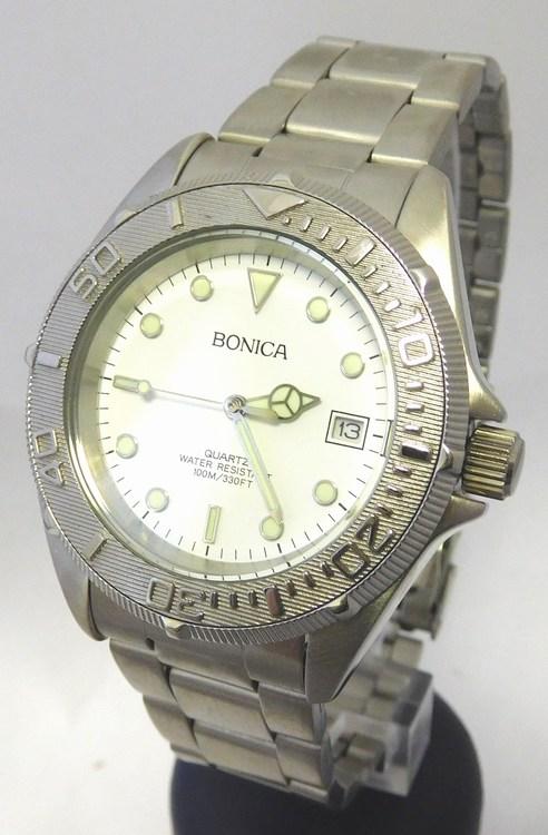 Pánské vodotěsné ocelové hodinky Bonica 1459 s fosforeskujícími prvky ( Mohutné pánské odolené hodinky)