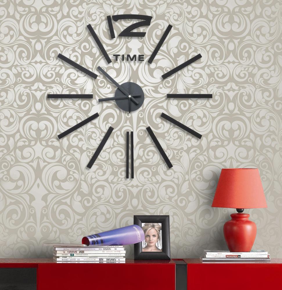 Levné nalepovací černé hodiny na zeď G21 Classic Style HM4-WSC-10E028 (HM4-WSC-10E028 )