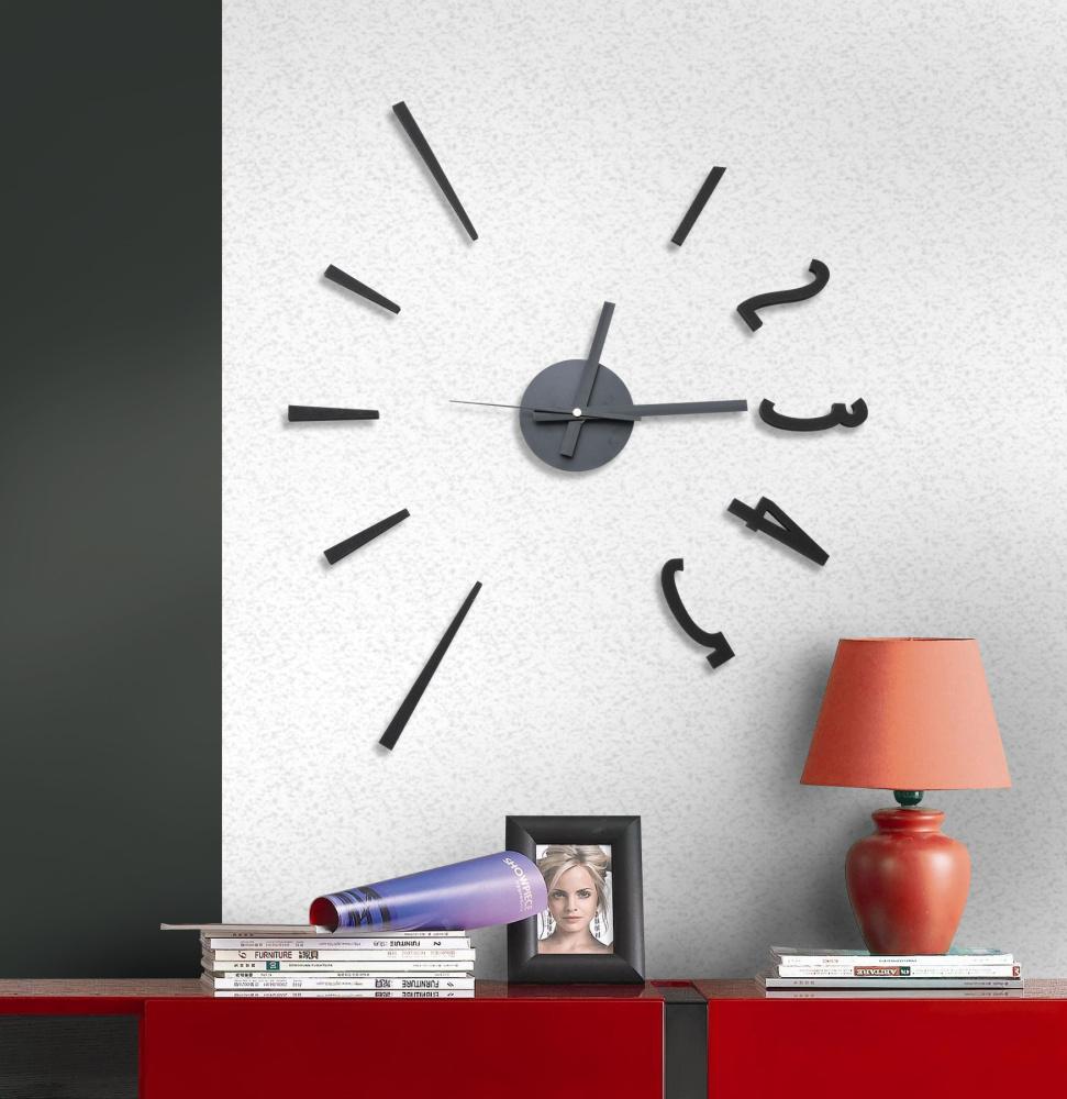 Designové levné nalepovací černé hodiny na zeď G21 Classic Style HM4-WSC-10E015 (HM4-WSC-10E015)