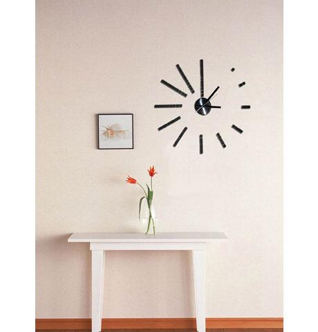 Designové samolepicí nalepovací černé hodiny Stardeco HM-10E008 průměr 50cm (Černé nalepovací 3D hodiny)