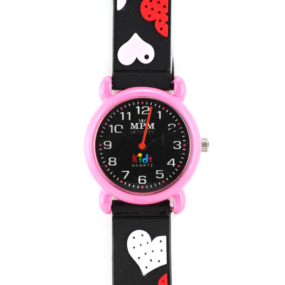 Dětské hodinky pro holky s růžovým pouzdrem a se srdíčky MPM W05M.10273.C (W05M.10273.C )