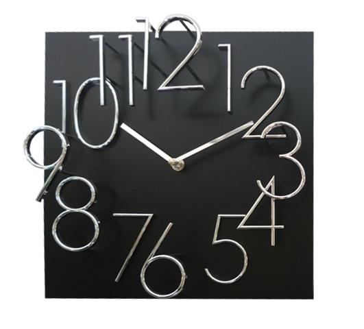 Hranaté desginové hodiny JVD HB24.4 s kovovými číslicemi (vystouplá čísla) (MDF materiál - černé)