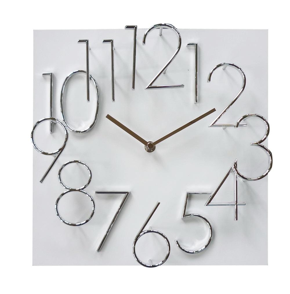 Hranaté desginové hodiny JVD HB24.5 s kovovými číslicemi (vystouplá čísla) (MDF materiál - bílé)