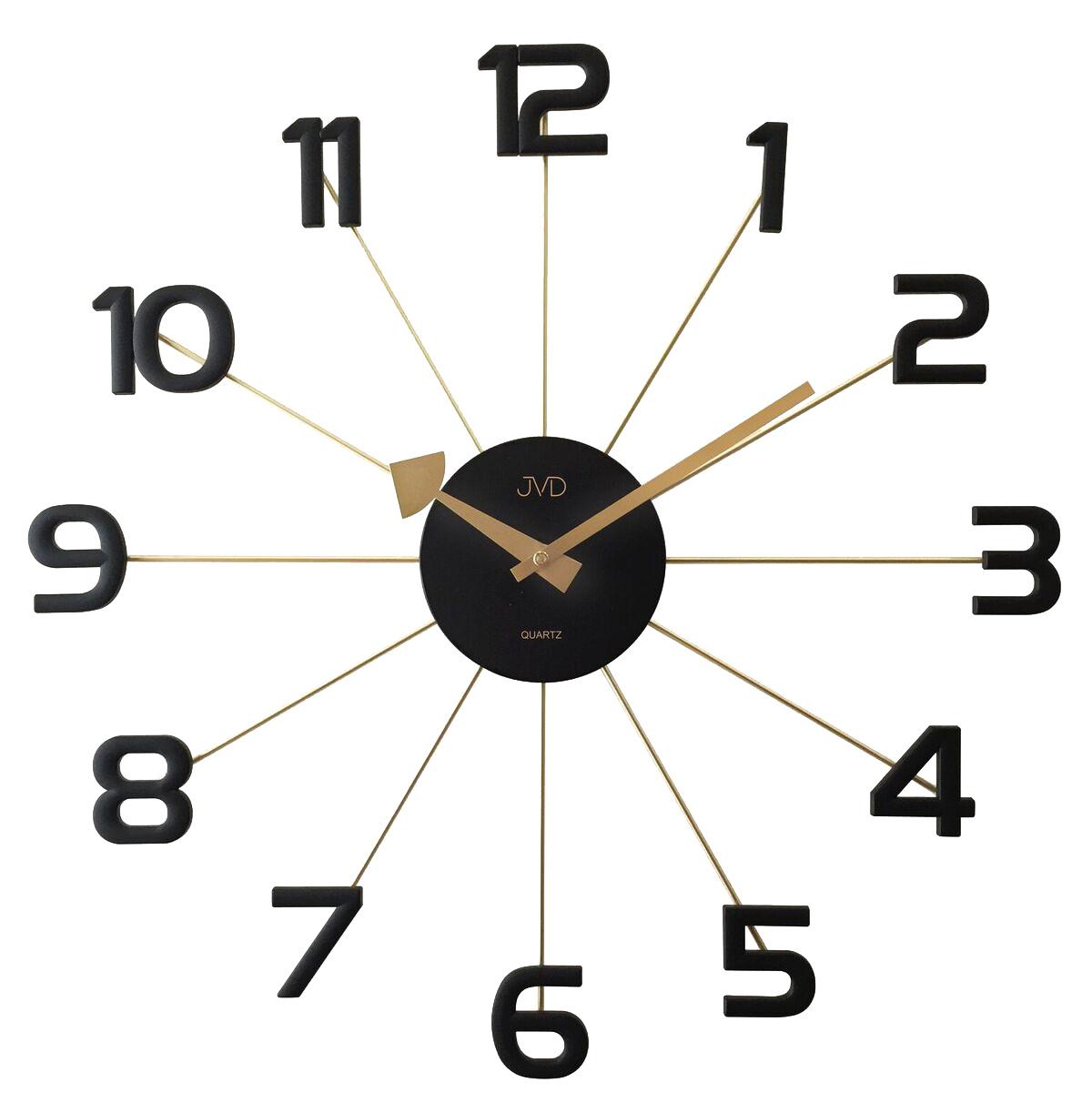 Černožluté paprskovité kovové hodiny JVD HT072.2 s číslicemi (POŠTOVNÉ ZDARMA!!)