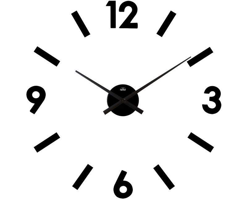 Velké černé nalepovací hodiny průměr 50-70cm Bentime H14-F66198B (černé samolepicí hodiny na zeď)