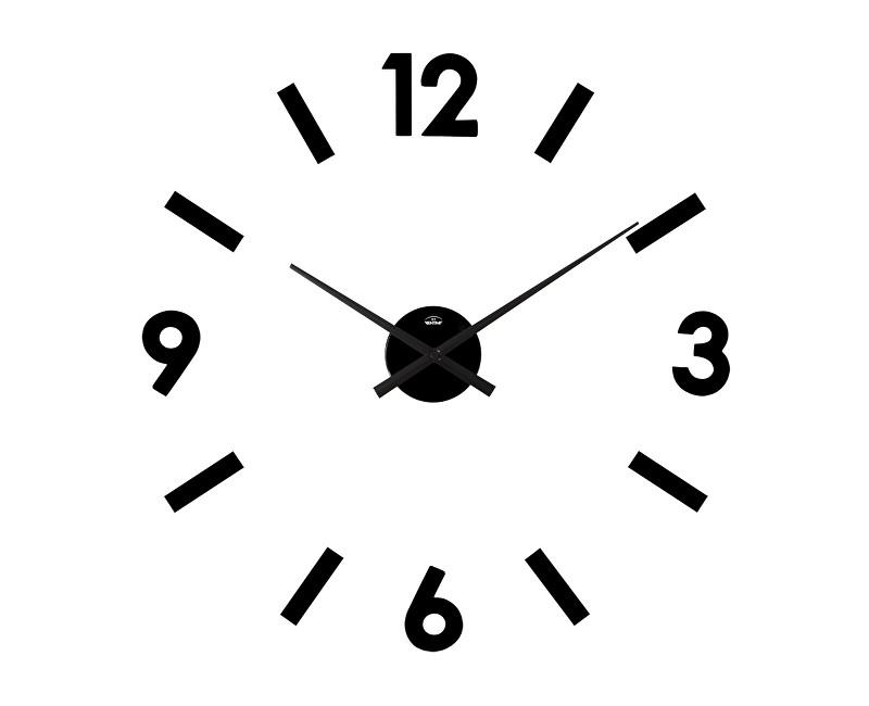 Velké černé nalepovací hodiny průměr 42cm Bentime H14-SW8015B (černé samolepicí hodiny na zeď)