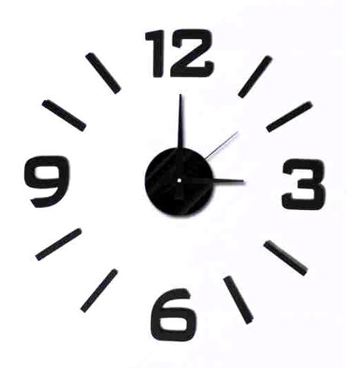 Černé nalepovací hodiny na zeď MPM E01.3508 s arabskými číslicemi (Černé levné nalepovací hodiny s arabskými číslicemi )