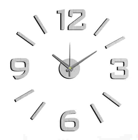 Stříbrné nalepovací hodiny na zeď MPM E01.3512 s arabskými číslicemi (Stříbrné levné nalepovací hodiny s arabskými číslicemi )