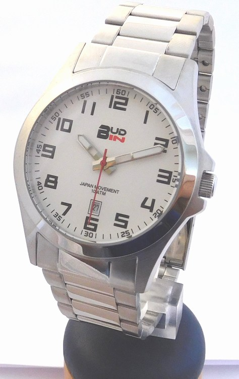 Pánské levné ocelové vodotěsné hodinky Bud-IN steel B1701.1 - 10ATM (POŠTOVNÉ ZDARMA!!! - bílý číselník)