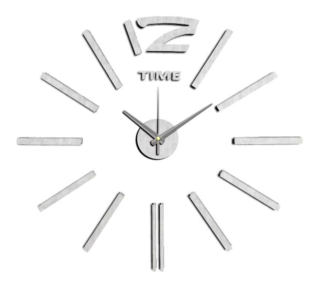 Stříbrné nalepovací hodiny na zeď MPM E01.3659 TIME - průměr 60 cm (Stříbrné levné nalepovací hodiny)