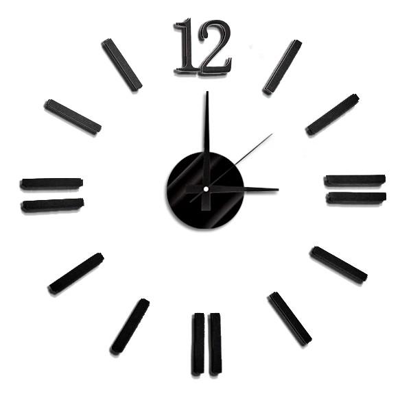 """Černé nalepovací hodiny na zeď MPM E01.3658 s černými číslicemi (Černé levné nalepovací hodiny s arabskými číslicemi """"12"""")"""