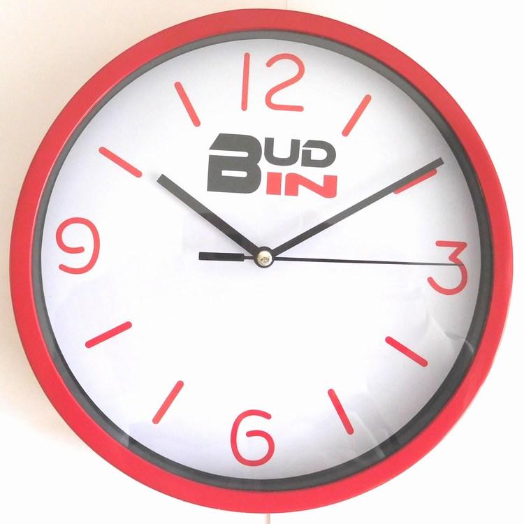 Červené nástěnné netikající hodiny s plynulým chodem BUD-IN C1702.2