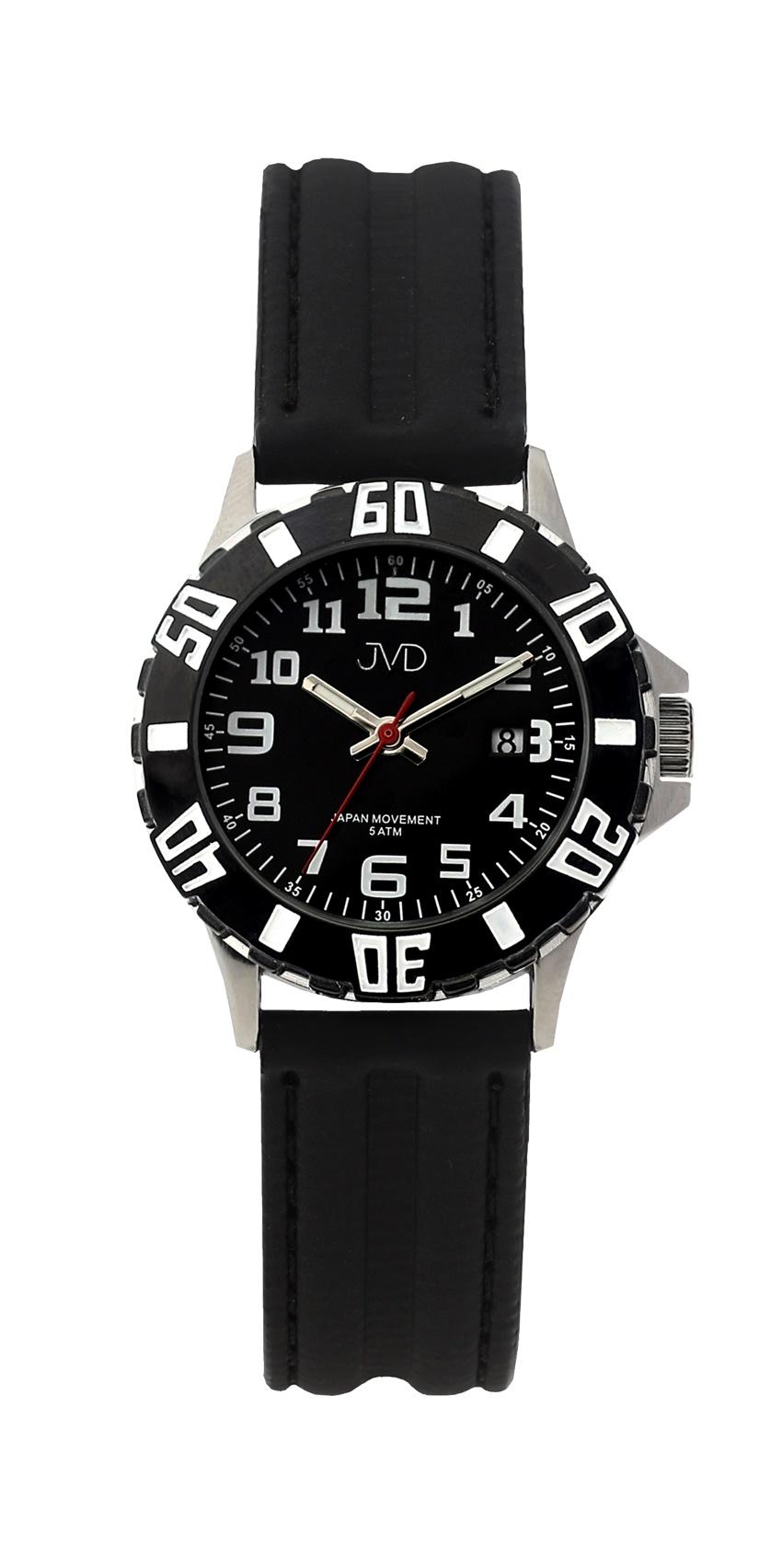 Černé chlapecké vodoodolné dětské náramkové hodinky JVD J7176.1