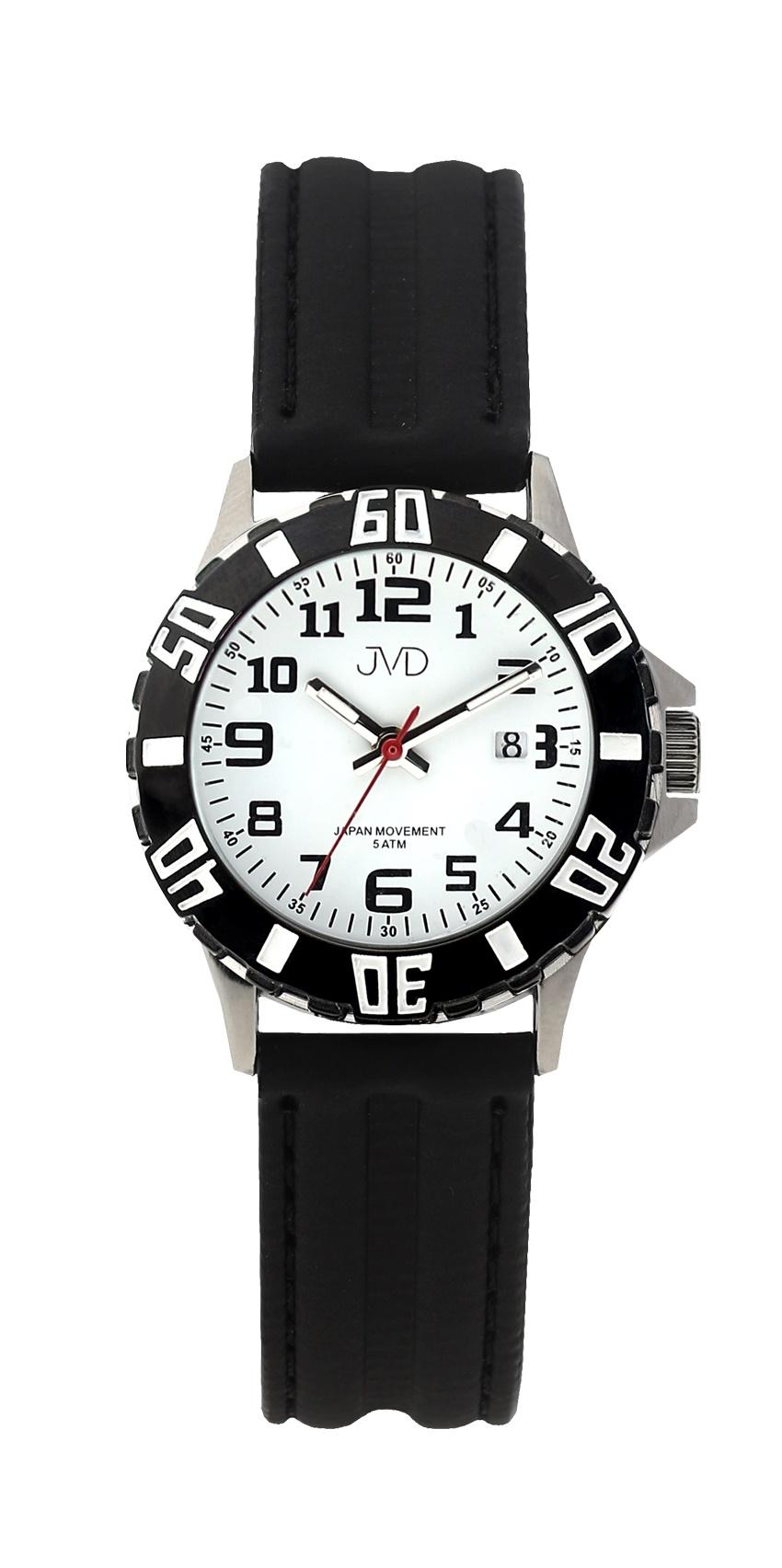 Černé chlapecké vodoodolné dětské náramkové hodinky JVD J7176.2