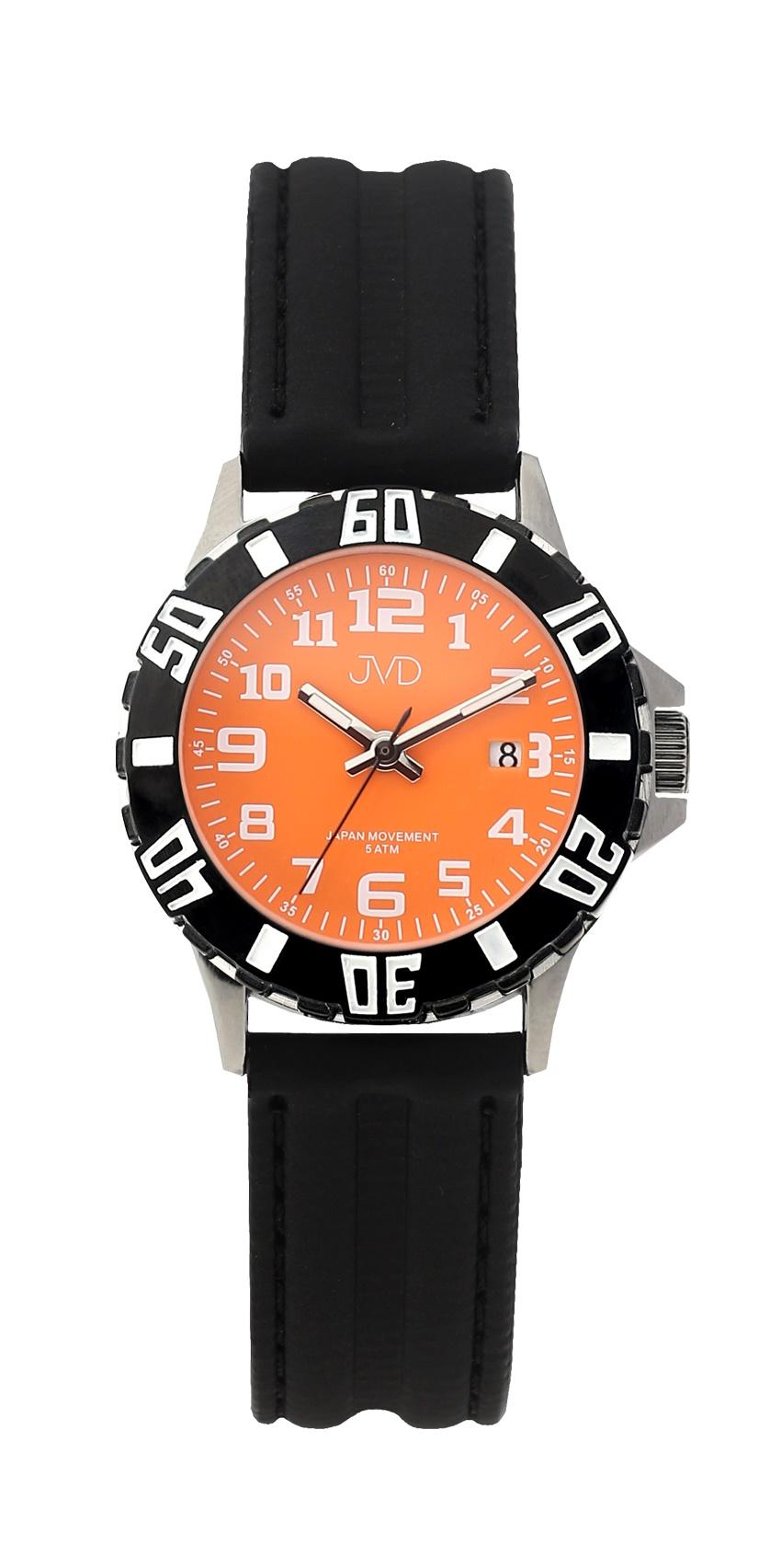 Černé chlapecké vodoodolné dětské náramkové hodinky JVD J7176.3 (oranžový číselník)